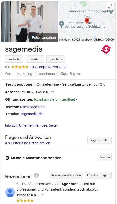 Beispiel eines Google My Business Eintrags (sagemedia)